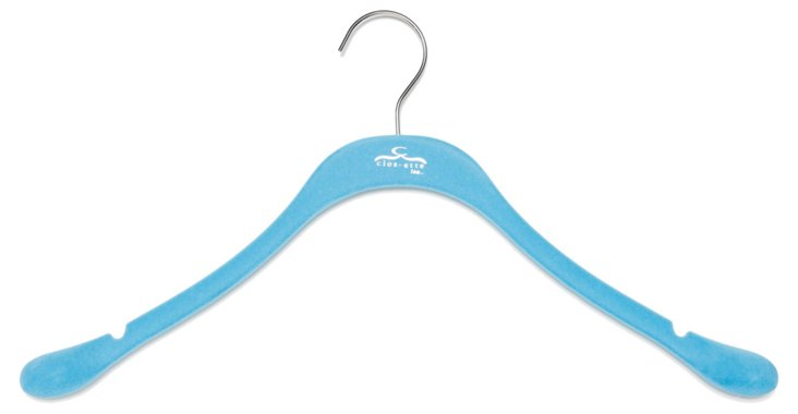 S/10 Slim Coat Hangers, Blue/Chrome