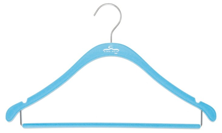 S/20 Slim Shirt Hangers, Blue/Chrome