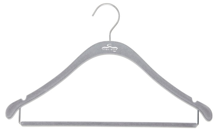 S/20 Shirt Hangers w/ Bar, Gray/Chrome