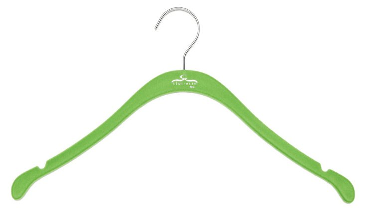 S/20 Slim Shirt Hangers, Green/Chrome
