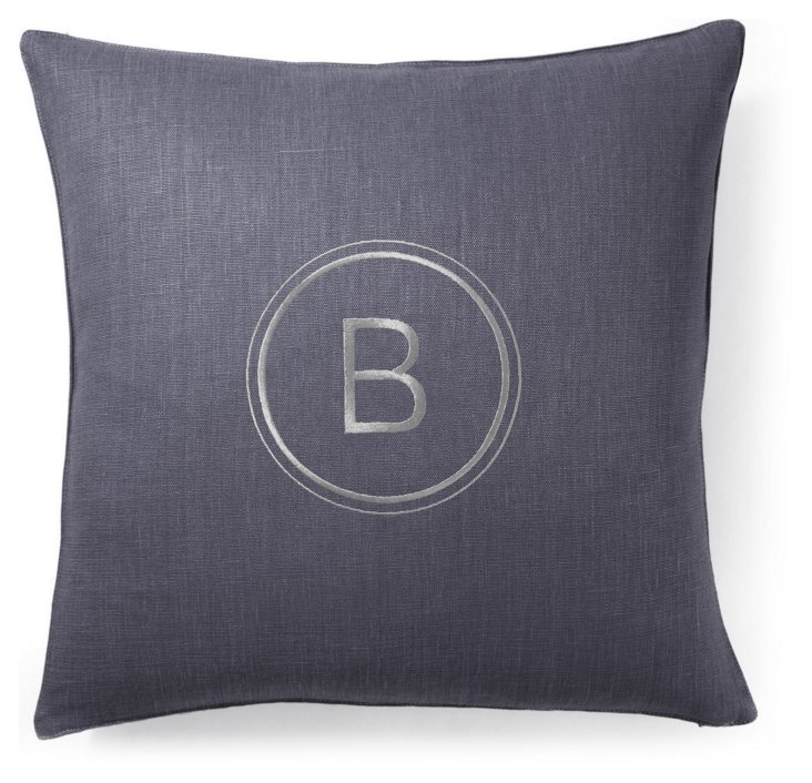 Monogram 18x18 Linen Pillow, Slate