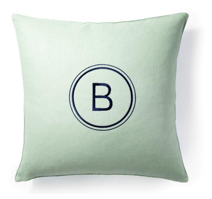 Monogram 18x18 Linen Pillow, Celery