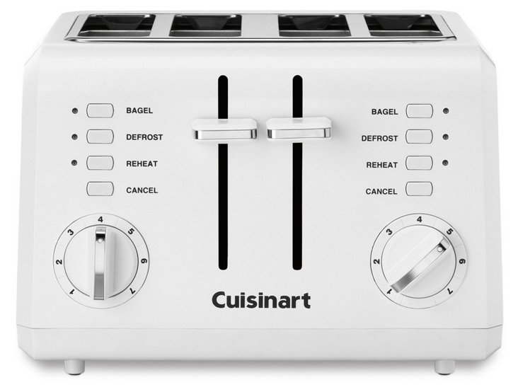 4-Slice Compact Toaster, White