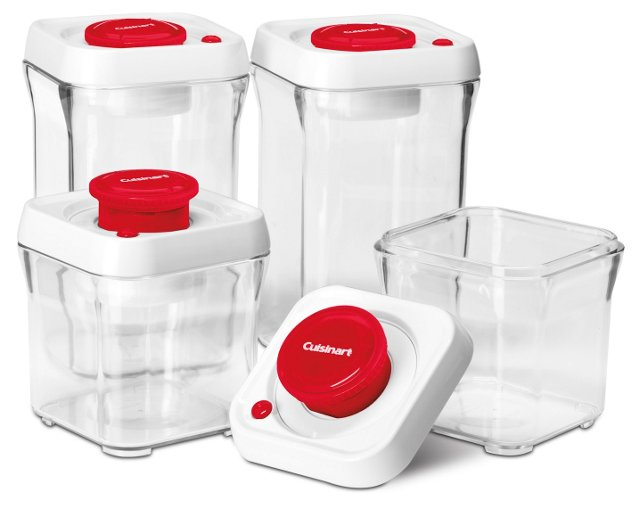 8-Pc Vacuum-Seal Food Storage, Red