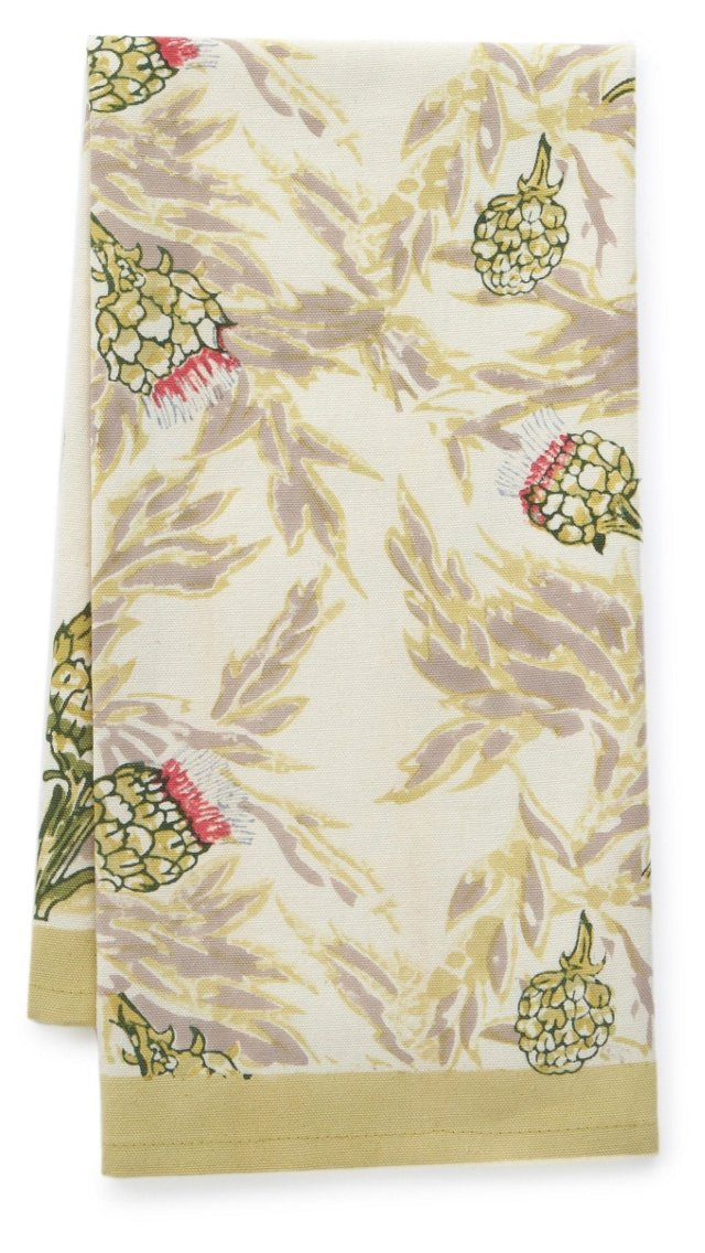 S/3 Artichoke Tea Towels, Green