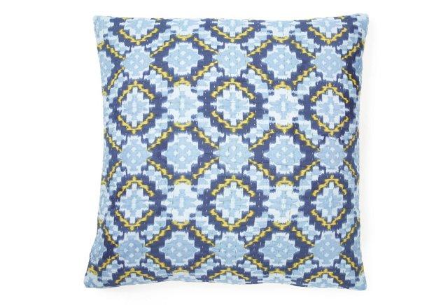 Kantha 20x20 Pillow, Blue Dijon