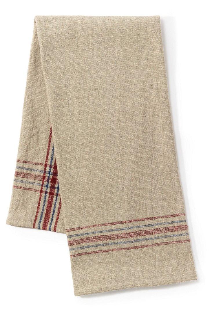 S/2 Khadhi Towels, Beige/Red