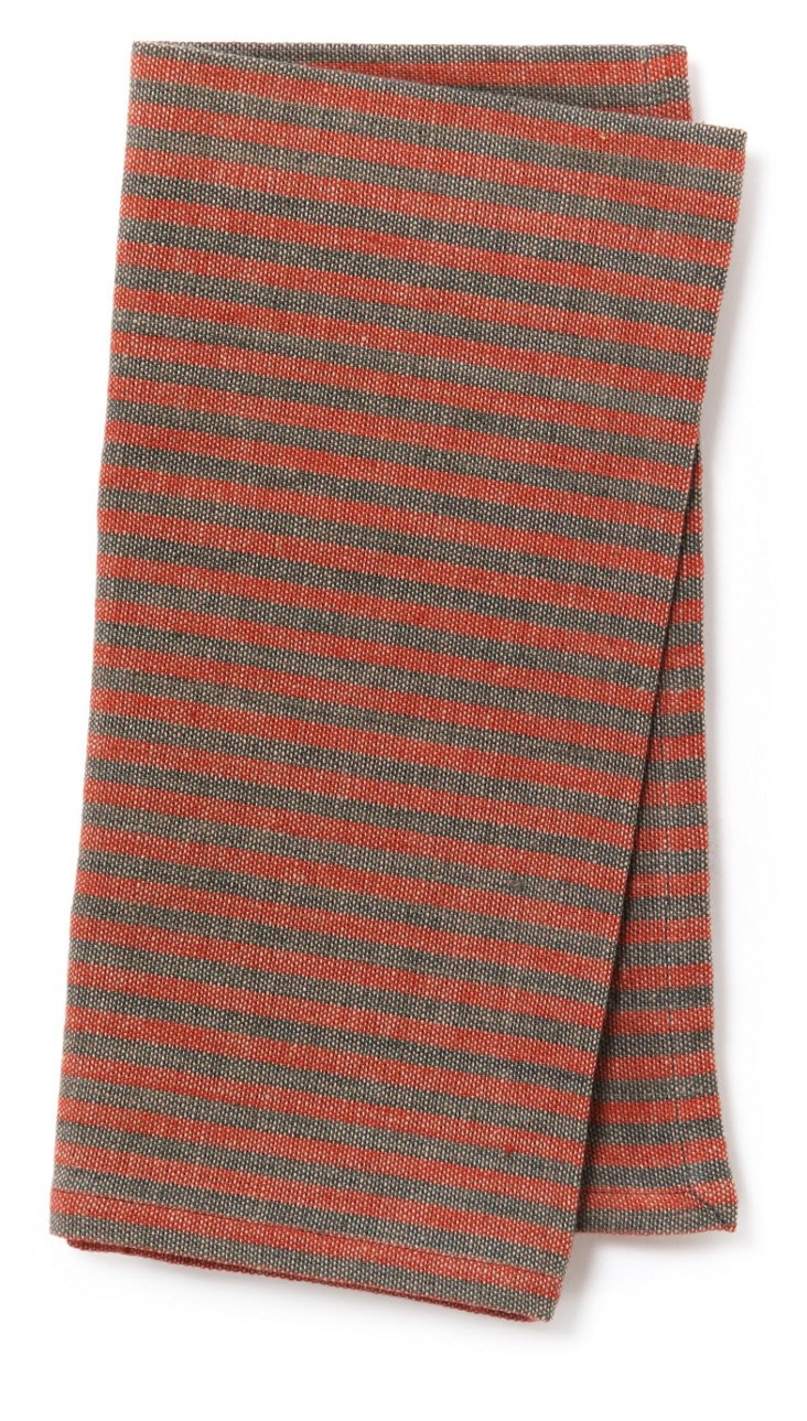 S/4 Khadhi Napkins, Charcoal/Red