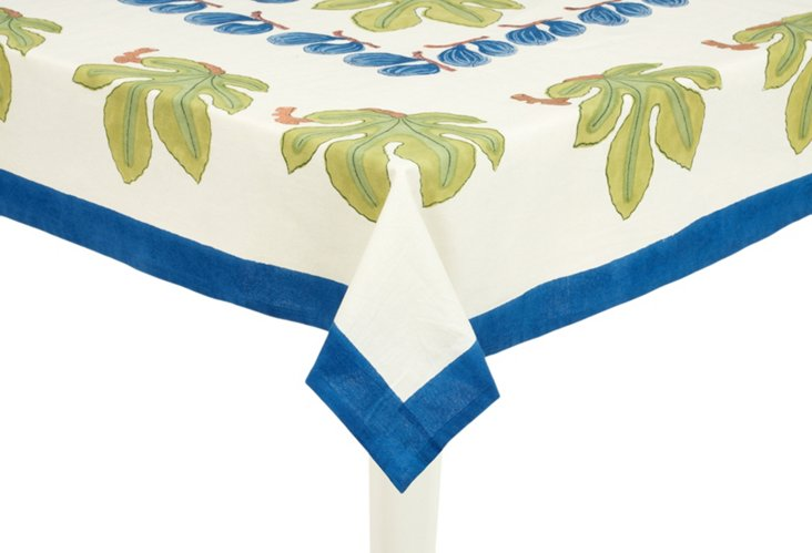 Fig Tablecloth, Blue