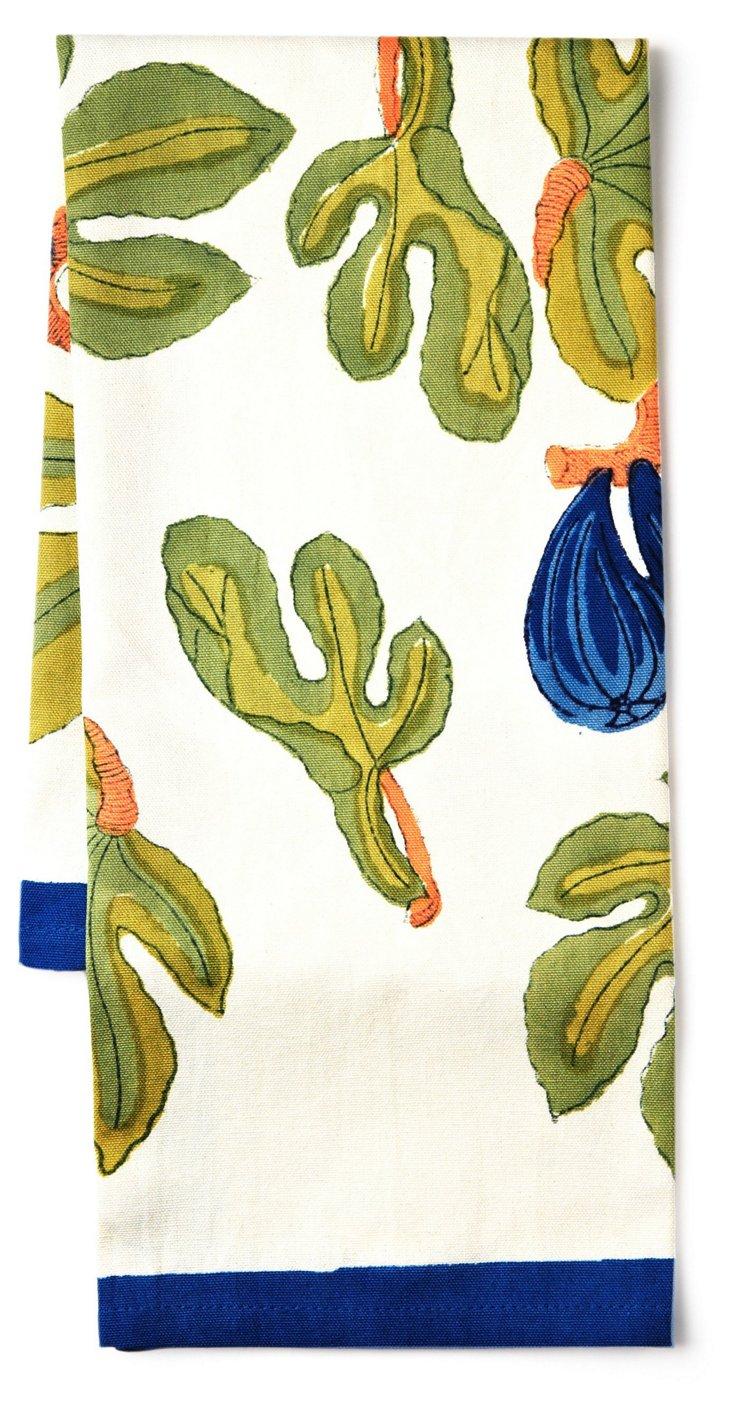 S/3 Fig Tea Towels, Blue