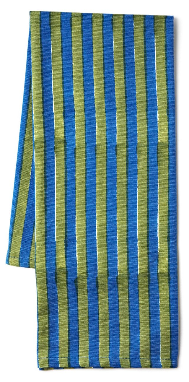 S/3 Stripe Tea Towels, Green/Blue