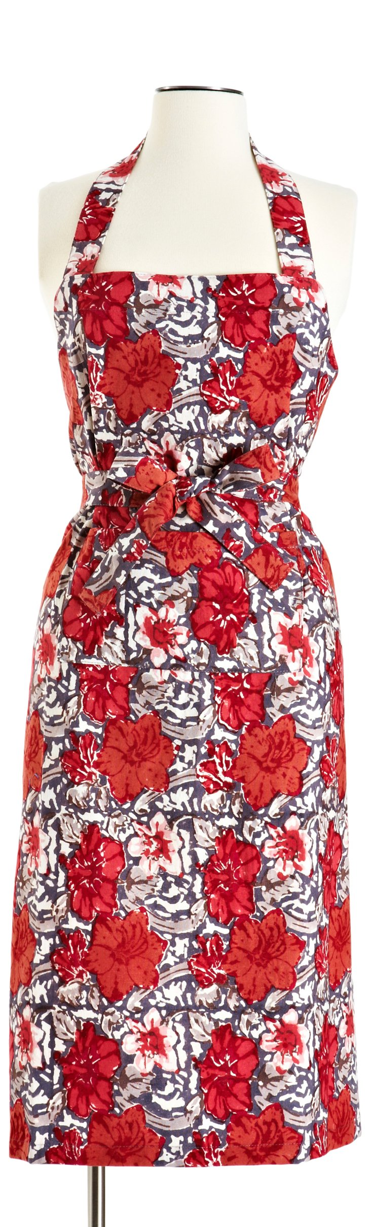 Exotic Flower Apron, Gray/Red