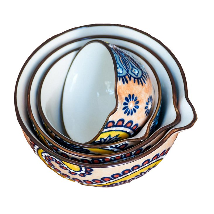 S/4 Paisley Measuring Cups, Multi