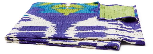 Wave Hand-Stitched Kantha Throw, Blue