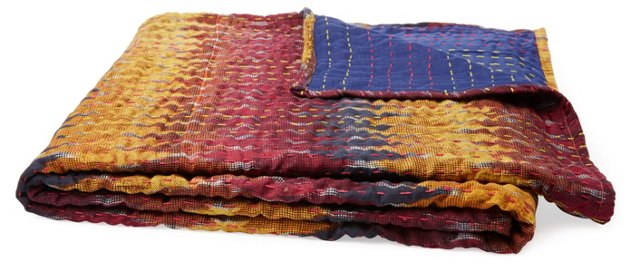 Sunset Hand-Stitched Kantha Throw, Multi