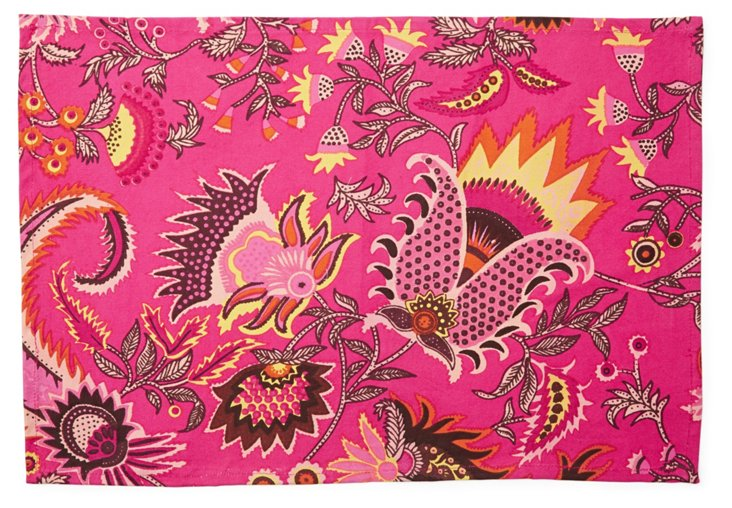 S/4 Floral Place Mats, Fuchsia
