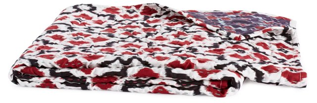 Poppy Hand-Stitched Throw, Red