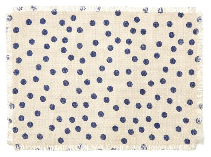 S/4 Polka Dot Place Mats, Navy