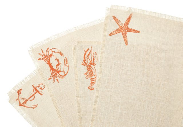 S/4 Assorted Sea-Life Place Mats, Coral