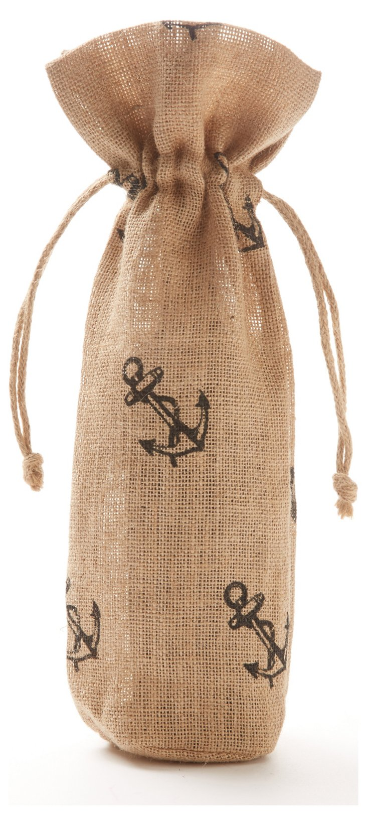 S/2 Anchor Wine Bags, Natural/Blue