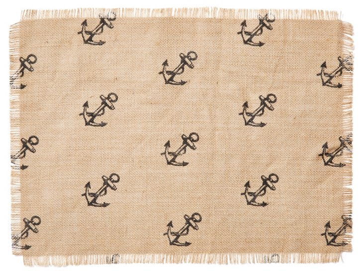 S/4 Anchor Place Mats, Natural/Blue