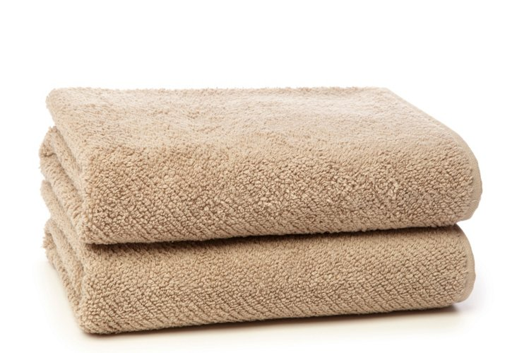 S/2 Quick-Dry Hand Towels, Taupe
