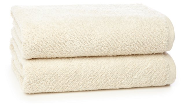 Set of 2 Quick-Dry  Hand Towels, Ivory
