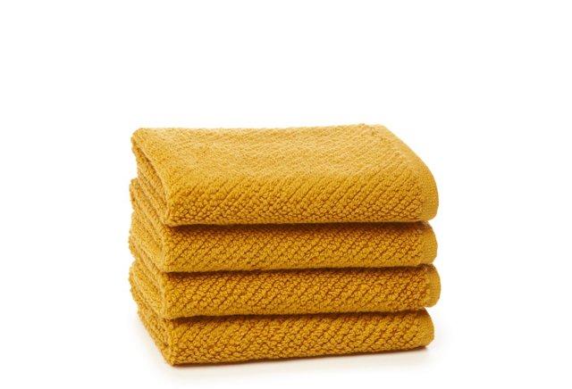 Set of 4 Quick-Dry Washcloths, Mustard