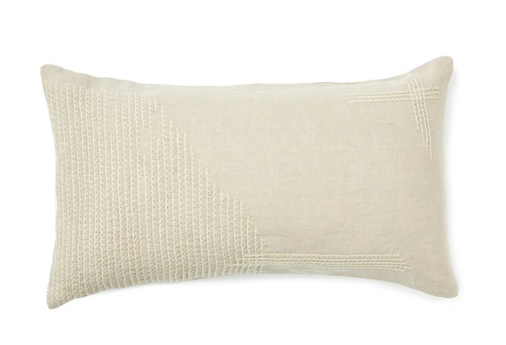 Angora Embroidered Pillow, Natural