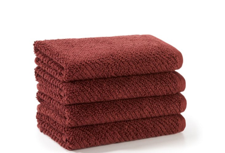 Set of 4 Quick-Dry Washcloths, Mulberry