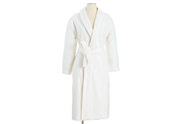 Medium Women's Grand Velour Robe, White