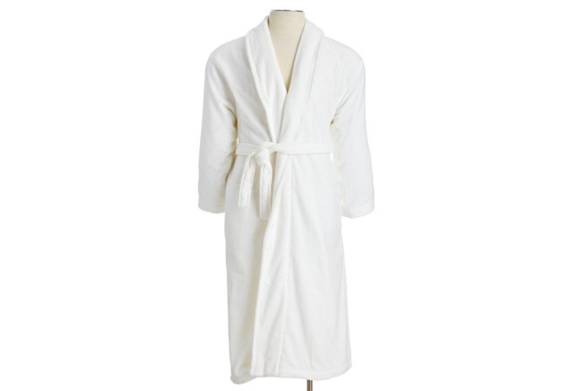 Men Grand Velour Robe, White