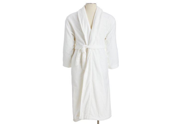 Medium Men's Grand Velour Robe, White