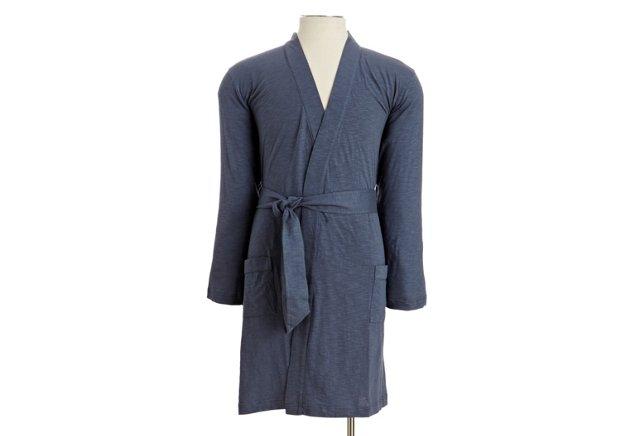 Men's Slub Jersey Hooded Robe, Blue