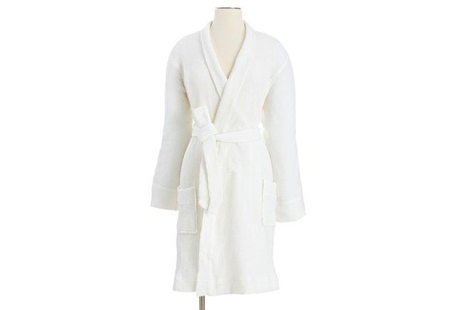 Rustic Waffle Robe, White