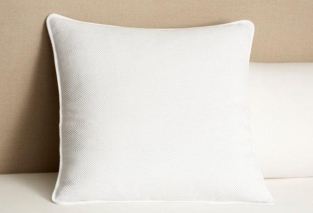 Herringbone Euro Sham, White/Mid Gray