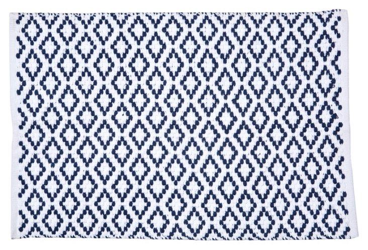 2'x3' Diamond Pebble Rug, French Blue/Wh