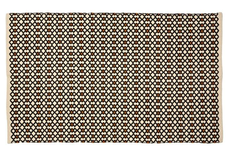 3'x5' Triple Diamond Rug, Ivory/Charcoal