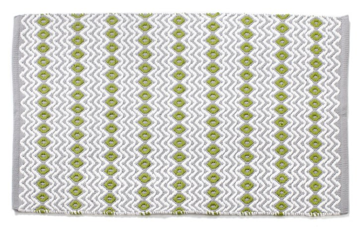2' x 3'  Wave Rug, Gray/Green Tea