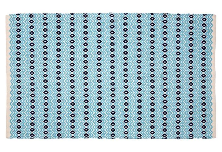 Wave Rug, Ivory/Blue