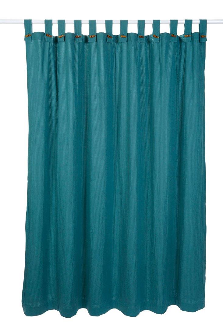 Seersucker Shower Curtain, Dusty Aqua