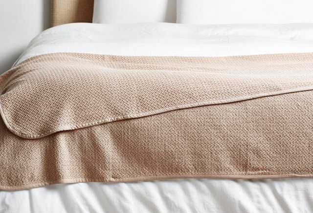 Honeycomb Throw Blanket, Taupe