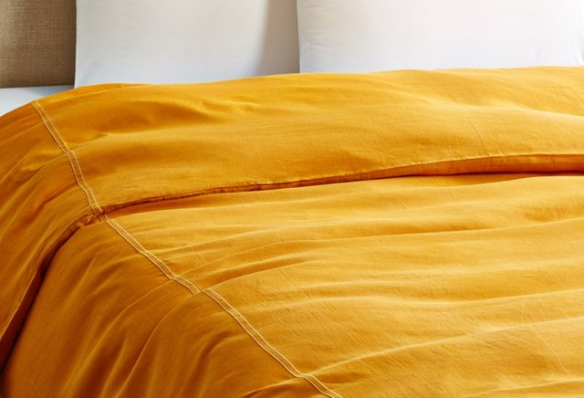Relaxed Linen Duvet Cover, Tangerine