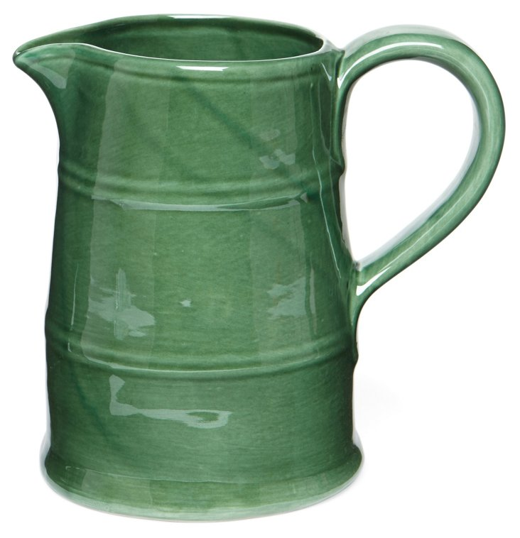 Rustic Earthenware Pitcher, Green