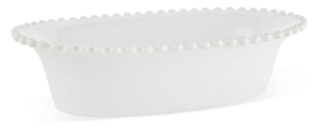 Earthenware Oval Serving Bowl, White