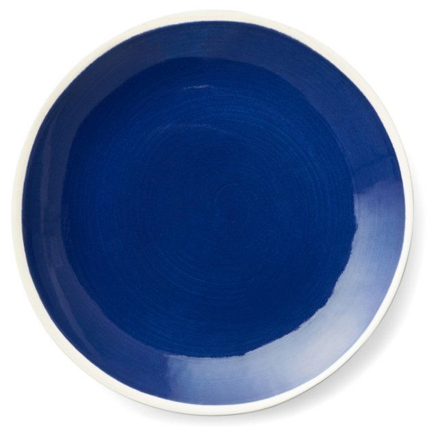 S/4 Hand-Painted Salad Plates, Navy