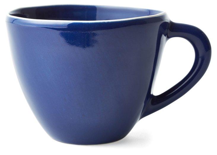 S/4 Hand-Painted Mugs, Navy