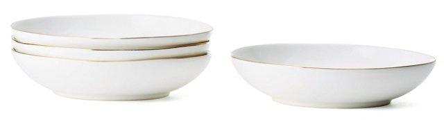 S/4 Gold-Rimmed Pasta Bowls
