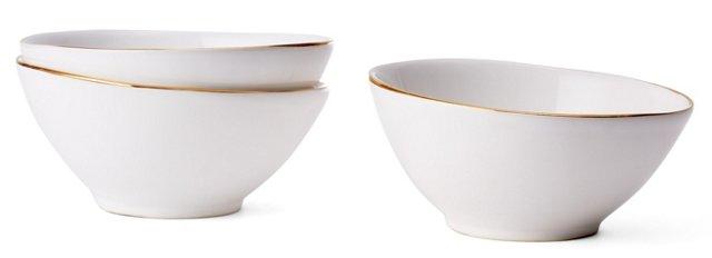 S/3 Gold-Rimmed Condiment Bowls