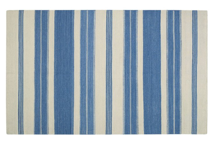 Puhalo Flat-Weave Rug, Faded Azul